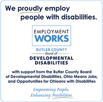 We proudly employ people with development disabilities banner